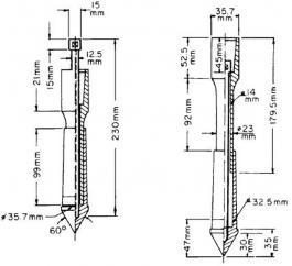 Example of mechanical cone penetrometer tip