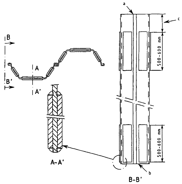 Example of a simple reinforcement of head and toe of a double U-sheet pile