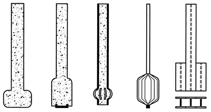 Exemples of shafts and bases of displacement piles