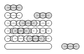 Example of interlocking wall produced by wet mixing, showing the installation sequence