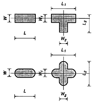 Examples of barrette piles and dimensions