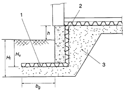 Concrete foundation wall with ground insulation and internal vertical edge insulation