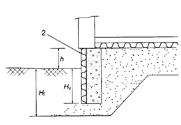 Concrete foundation wall with external vertical edge insulation