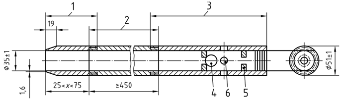 Longitudinal cross section of an SPT sampler without a provision for a liner